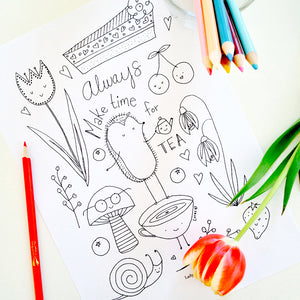 Printable Tea Time Coloring Book