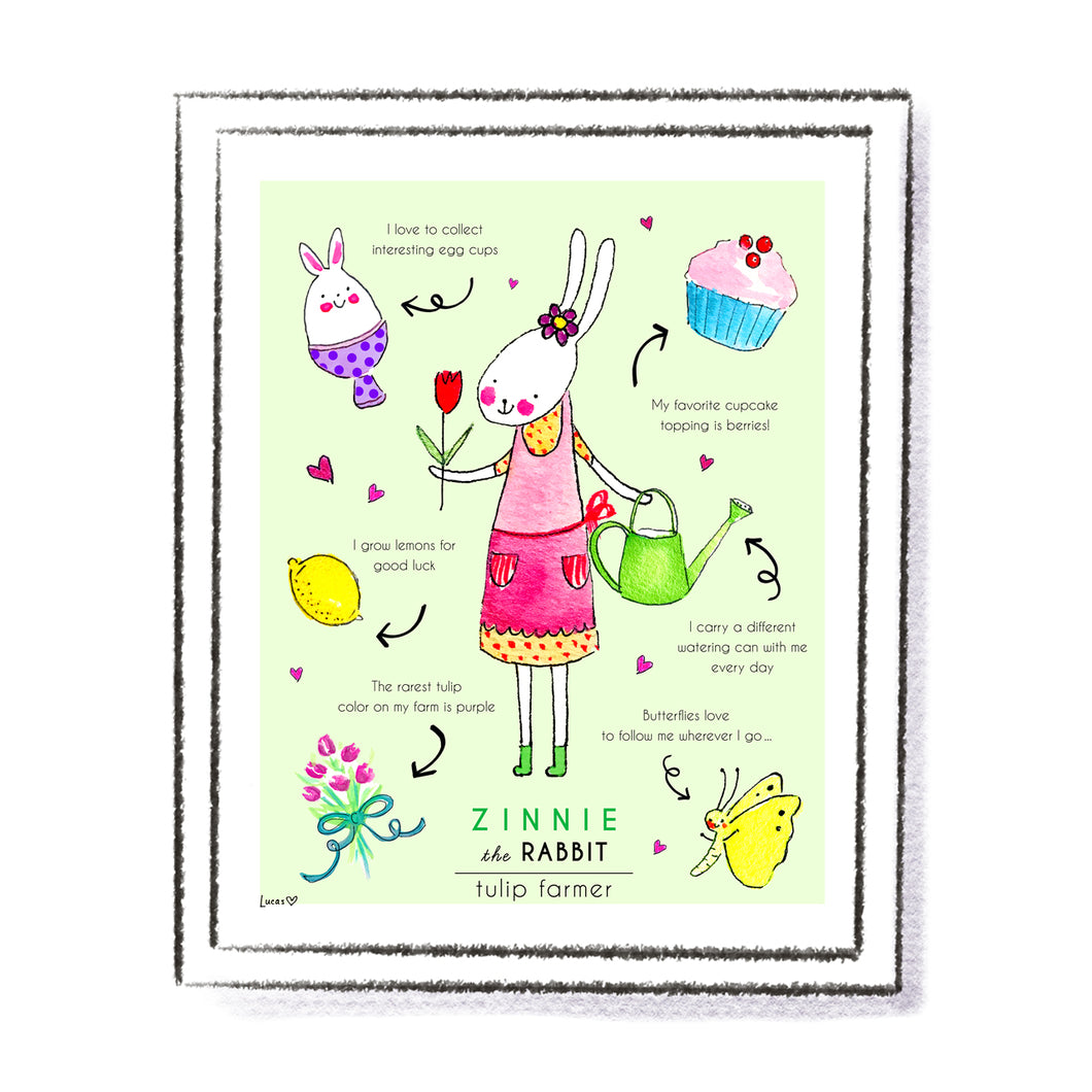 Zinnie the Rabbit Art Print