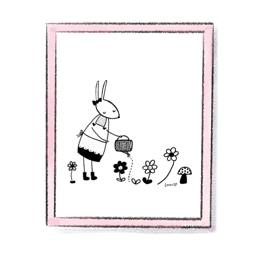 Rabbit Gardening Monochrome Art Print by Linzer Lane