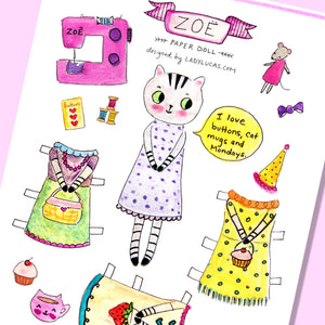 Zoe the Tabby Cat Paper Doll by Baby Lucas