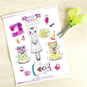 Zoe the Tabby Cat Printable Paper Doll