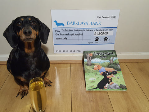 Dachshund with glass of bubbly and charity cheque.