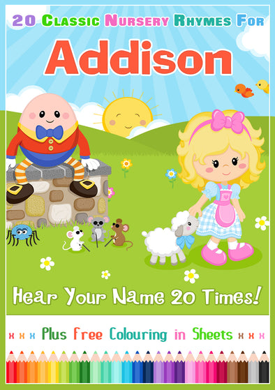 20 Nursery Rhyme Songs Personalised for Addison