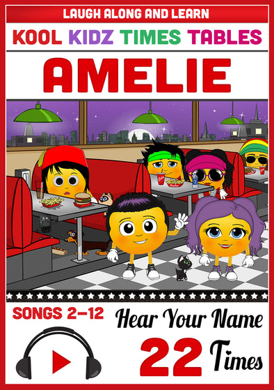 Times Tables Personalised for Amelie - Pronounced as (a-MEE-lee)