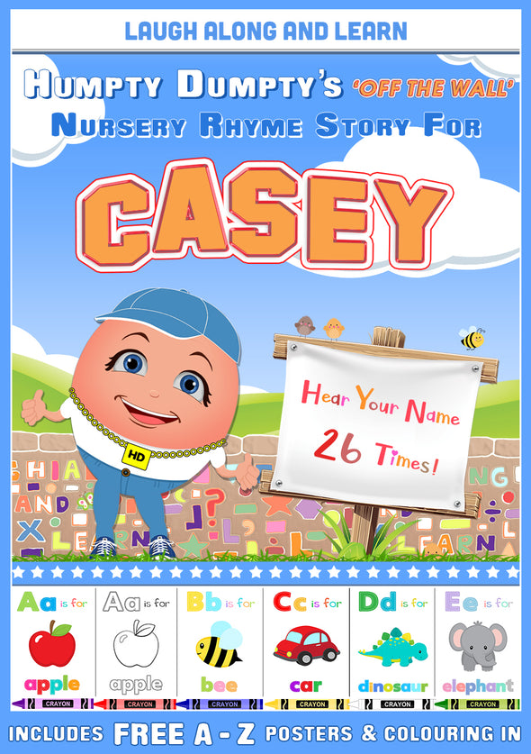 Personalised Nursery Rhyme Story for Casey (Male Version)