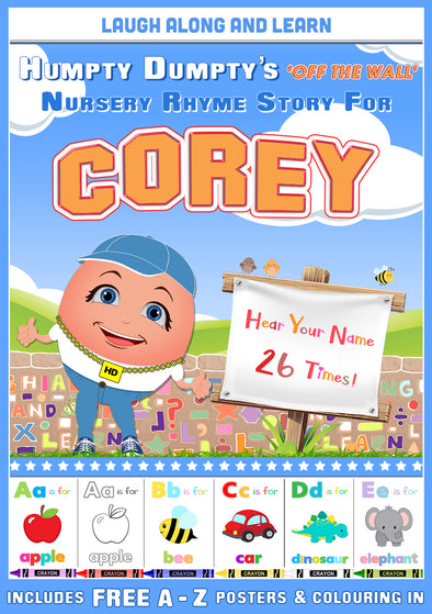 Personalised Nursery Rhyme Story for Corey (Male Version)