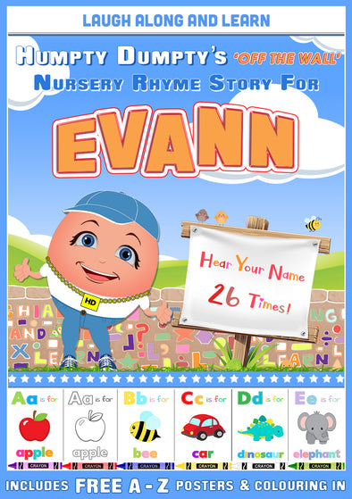 Personalised Nursery Rhyme Story for Evann (Female Version)