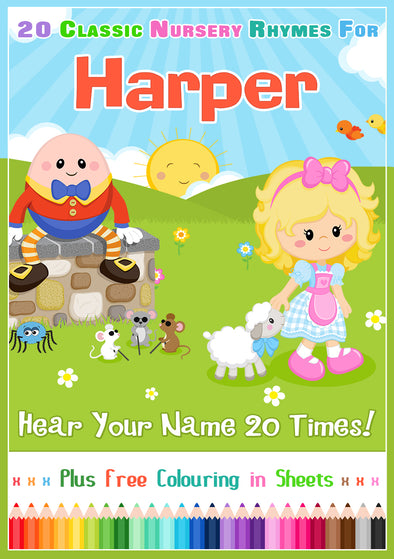 20 Nursery Rhyme Songs Personalised for Harper