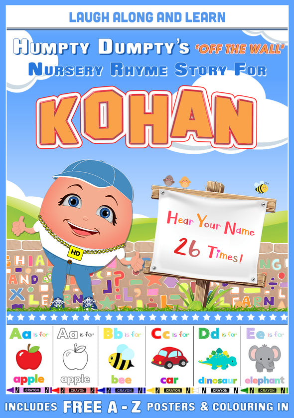 Personalised Nursery Rhyme Story for Kohan (Pronounced as Co-WUN)