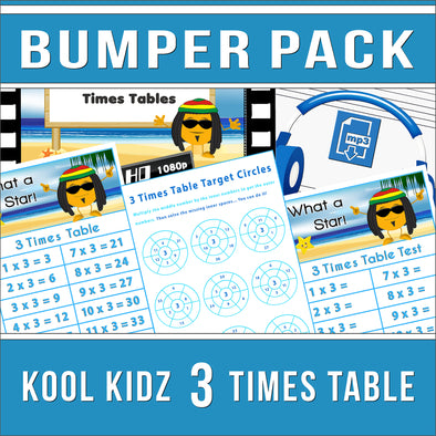 Kool Kidz 3 Times Tables Bumper Pack