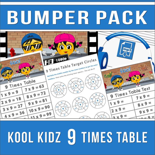 Kool Kidz 9 Times Tables Bumper Pack