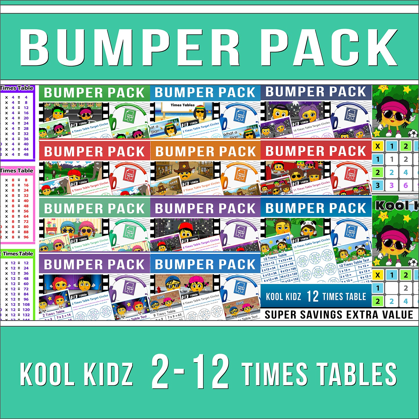 2-12 Times Table Bumper Pack