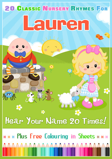 20 Nursery Rhyme Songs Personalised for Lauren
