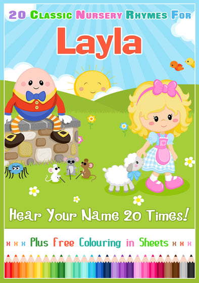 20 Nursery Rhyme Songs Personalised for Layla
