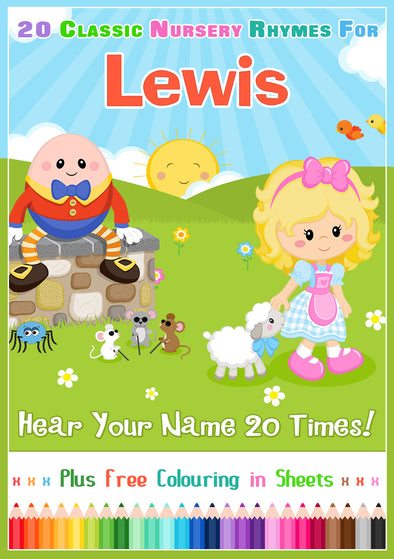 20 Nursery Rhyme Songs Personalised for Lewis