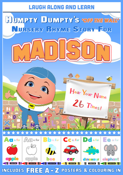 Personalised Nursery Rhyme Story for Madison (Male Version)