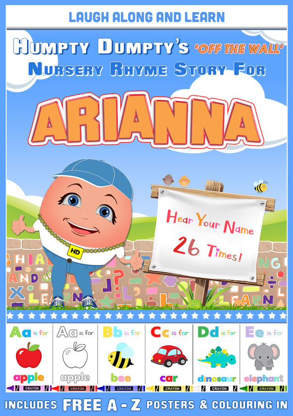 Personalised Nursery Rhyme Story for Arianna (Pronounced as A-REE-Arna)