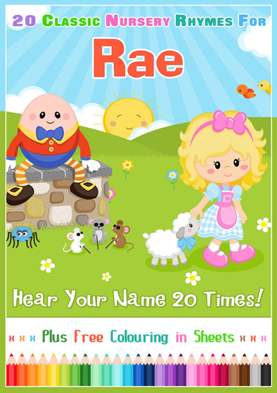 20 Nursery Rhyme Songs Personalised for Rae