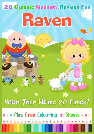 20 Nursery Rhyme Songs Personalised for Raven