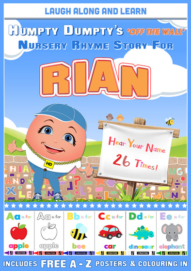 Personalised Nursery Rhyme Story for Rian (Pronounced Ree-IN, Male Version)