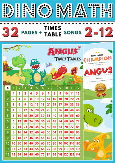 Dino-Math Times Table Activity Pack Personalised for Angus (Spelt as Angus')