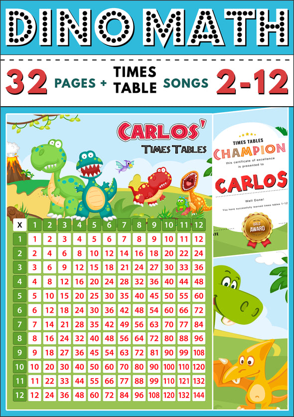 Dino-Math Times Table Activity Pack Personalised for Carlos (Spelt as Carlos')