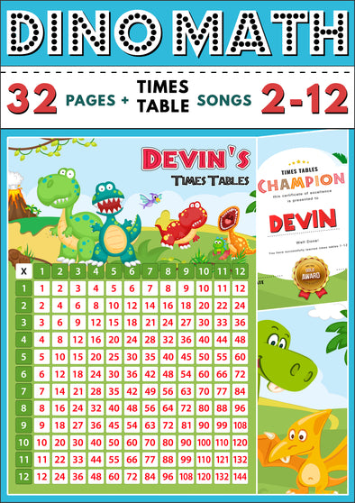 Dino-Math Times Table Activity Pack Personalised for Devin