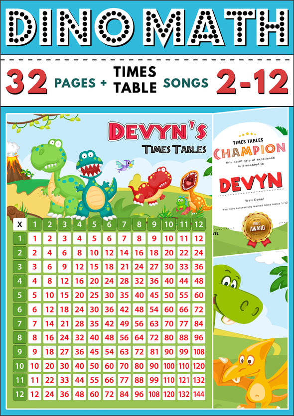 Dino-Math Times Table Activity Pack Personalised for Devyn