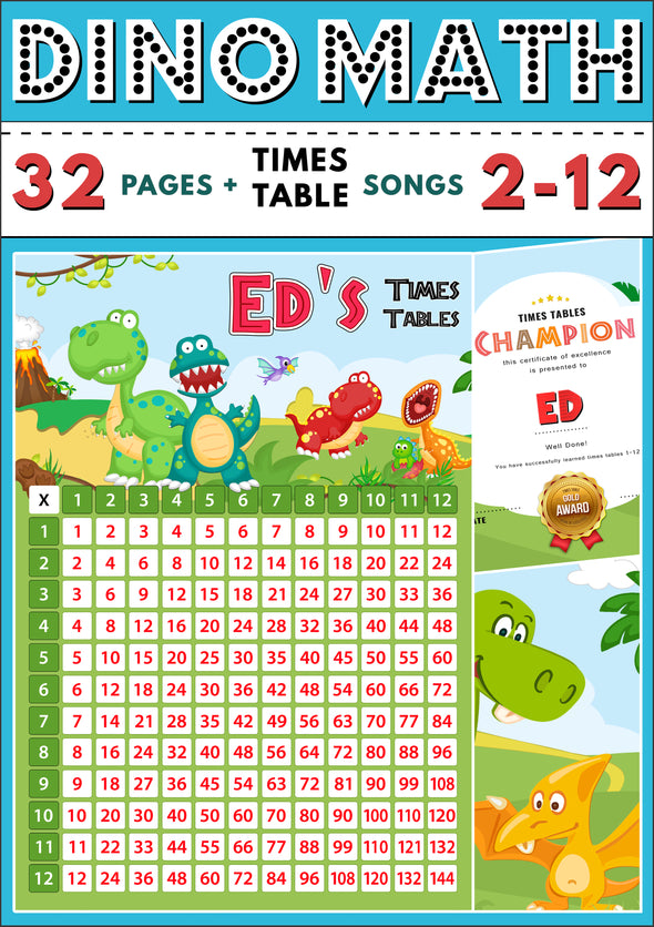 Dino-Math Times Table Activity Pack Personalised for Ed