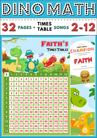 Dino-Math Times Table Activity Pack Personalised for Faith