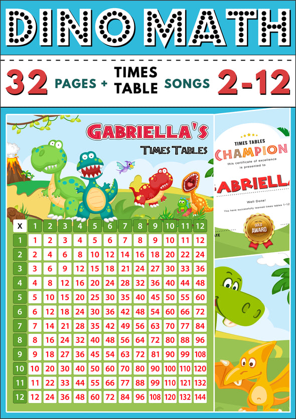 Dino-Math Times Tables Dinosaur Activity Pack Personalised for Gabriella