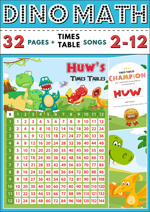 Dino-Math Times Tables Dinosaur Activity Pack Personalised for Huw