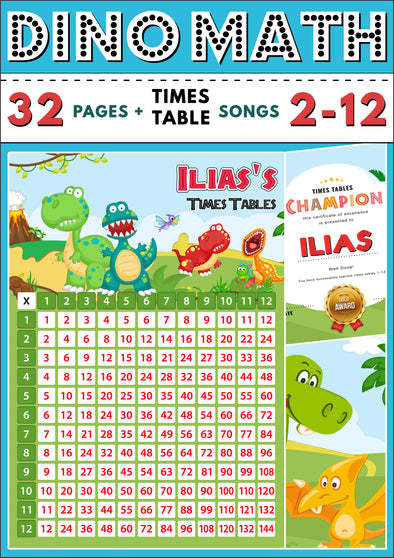Dino-Math Times Table Activity Pack Personalised for Ilias (Spelt as Ilias's)