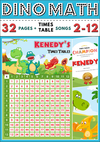 Dino-Math Times Table Activity Pack Personalised for Kenedy