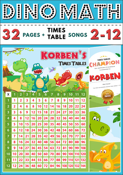 Dino-Math Times Table Activity Pack Personalised for Korben