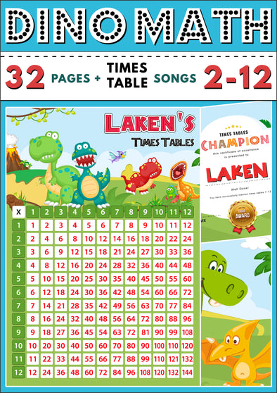 Dino-Math Times Table Activity Pack Personalised for Laken
