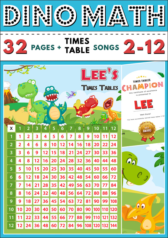 Dino-Math Times Table Activity Pack Personalised for Lee
