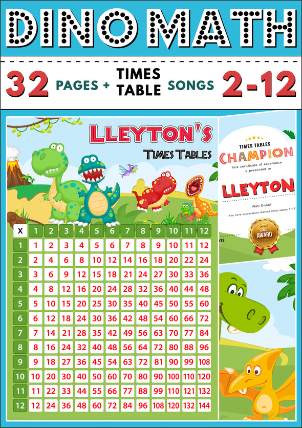 Dino-Math Times Table Activity Pack Personalised for Lleyton