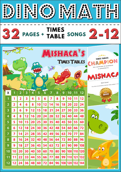 Dino-Math Times Table Activity Pack Personalised for Mishaca