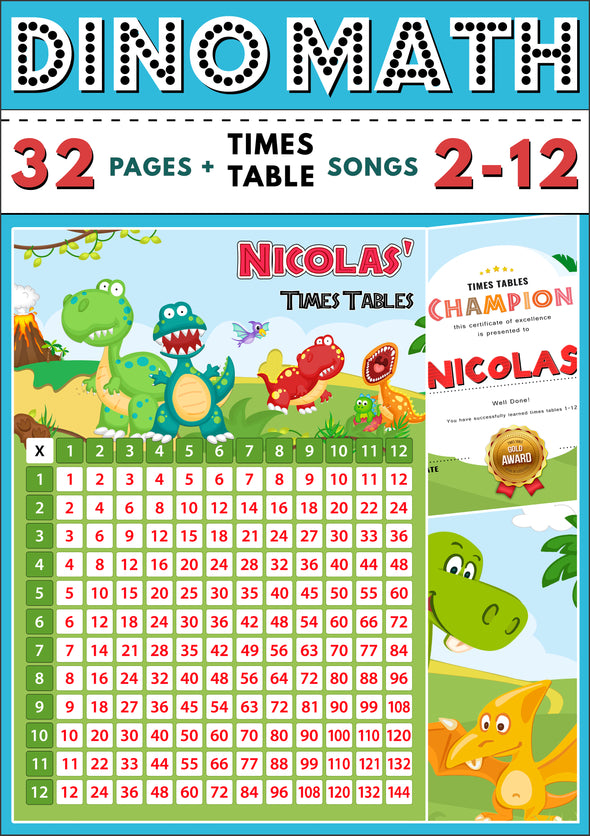Dino-Math Times Table Activity Pack Personalised for Nicolas (Spelt as Nicolas')