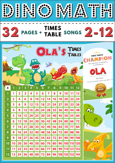 Dino-Math Times Table Activity Pack Personalised for Ola