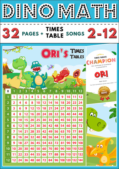 Dino-Math Times Table Activity Pack Personalised for Ori