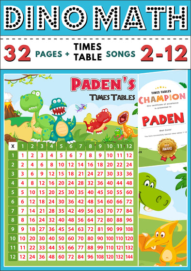 Dino-Math Times Table Activity Pack Personalised for Paden
