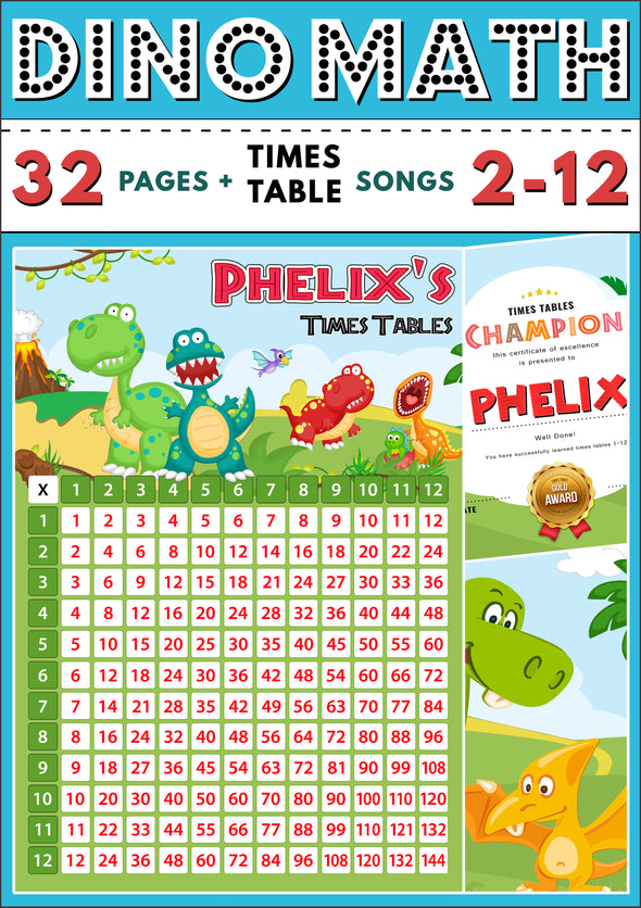 Dino-Math Times Table Activity Pack Personalised for Phelix