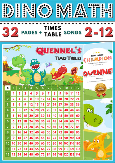 Dino-Math Times Table Activity Pack Personalised for Quennel
