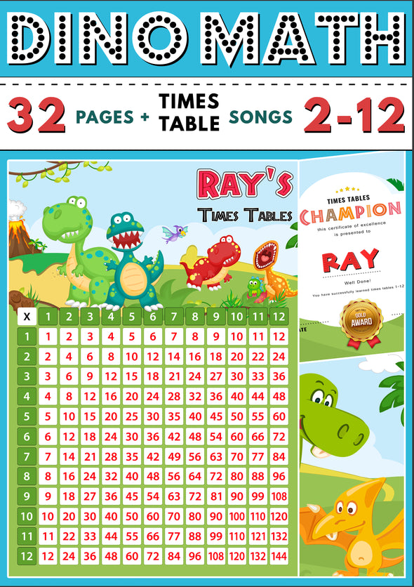 Dino-Math Times Table Activity Pack Personalised for Ray