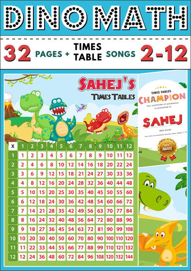 Dino-Math Times Table Activity Pack Personalised for Sahej