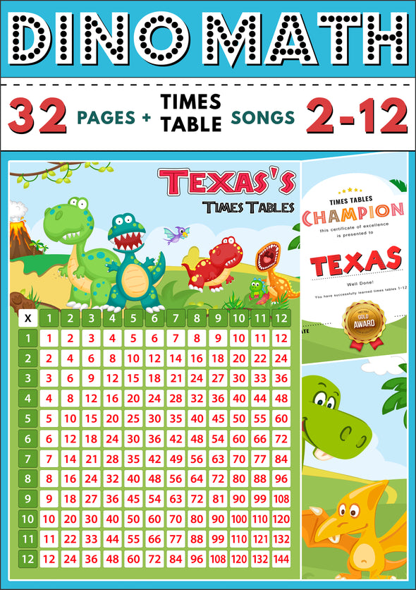 Dino-Math Times Table Activity Pack Personalised for Texas (Spelt as Texas's)