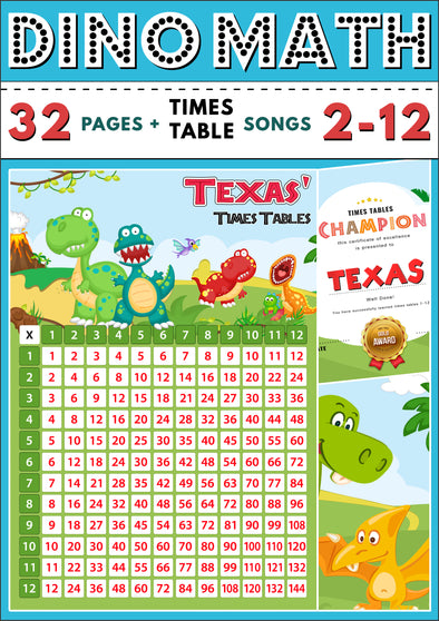Dino-Math Times Table Activity Pack Personalised for Texas (Spelt as Texas')
