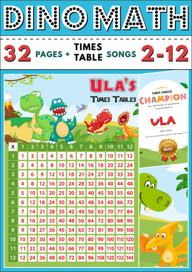 Dino-Math Times Table Activity Pack Personalised for Ula